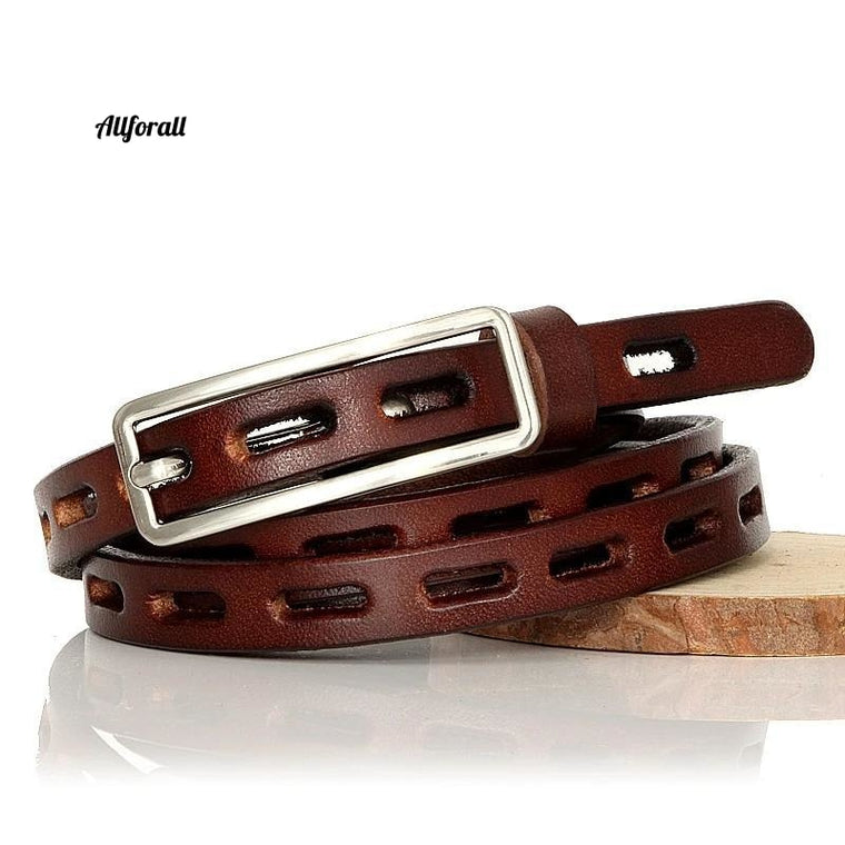 Fashion Return to The Ancients Thin Belt, Pin Buckle Genuine Leather Belt For Women, Cow-skin Leather Dress Collocation