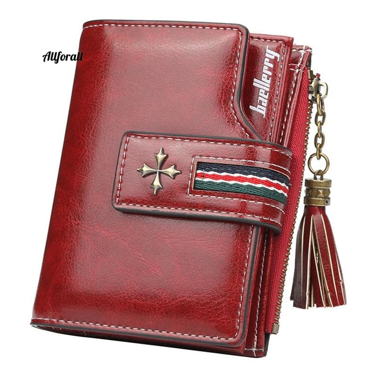 Fashion Small Oil Wax Leather Wallet, Women Stylish Zipper & Hasp Card Wallet, Woman High Quality Short Credit Corte Holder Purse