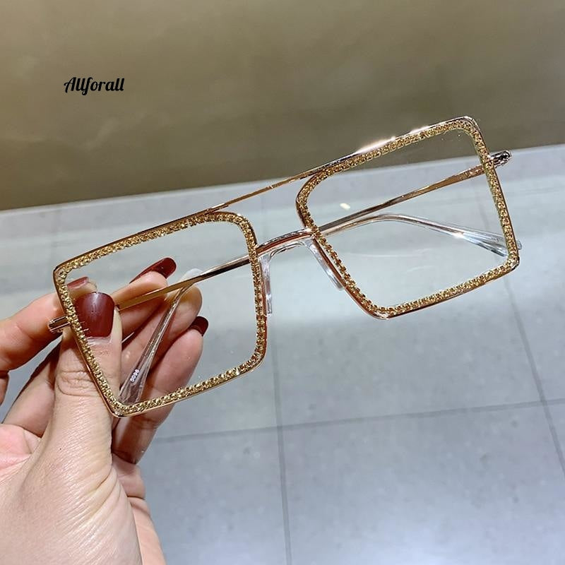 Fashion Transparent Square Sunglasses, Metal Overize Plain Clear Shades