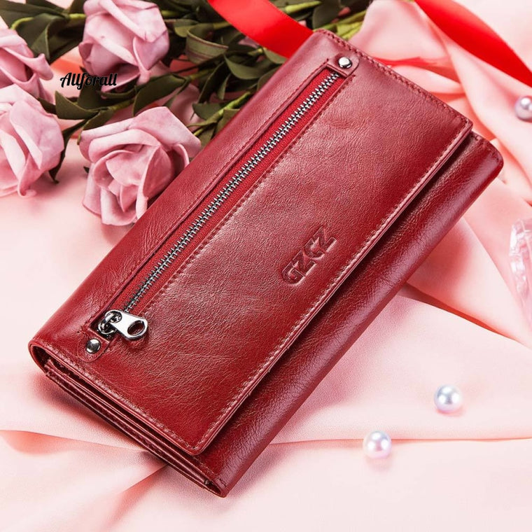 Fashion Women 100% Genuine Leather Wallet Purse, Card Holder Coin Pocket