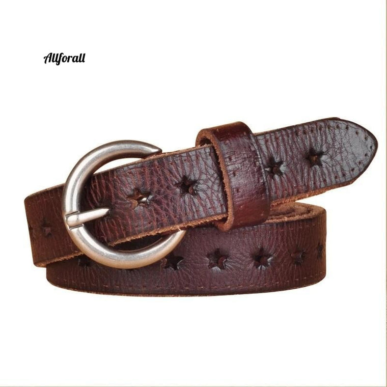 Fashion Women Belt Brand Designer Luxury Full Grain Leather Belt, Genuine Leather Cow-skin Hollow Out Popular Ladies Belt