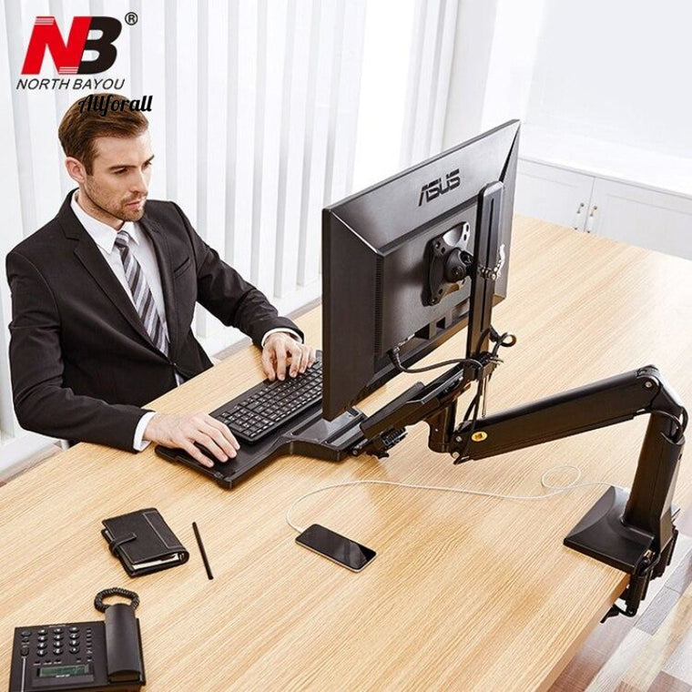 FC35 Ergonomic Desktop Gas Spring 22-35 Inch Holder Monitor with Foldable Keyboard Tray, Sit-Stand Workstation