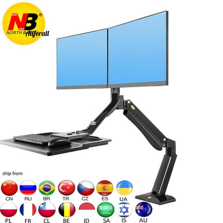 FC40-2A 22-27inch Ergonomic Computer Sit Stand, Workstation Double Monitor Lifting Desk Laptop Stand