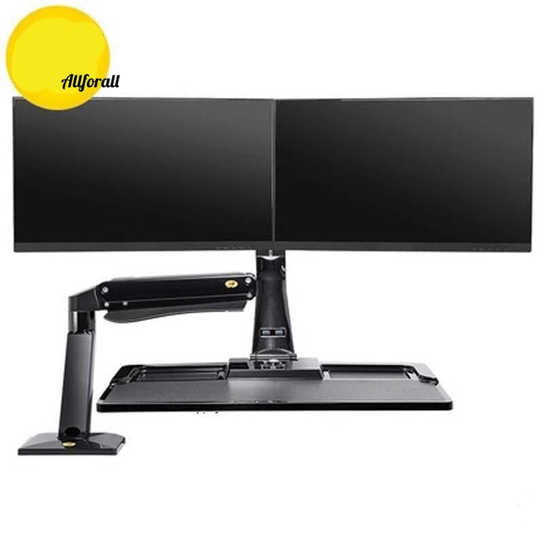 FC55-2A 22-35inch Ergonomic Display Sit Stand Workstation Double Monitor Lifting Desk