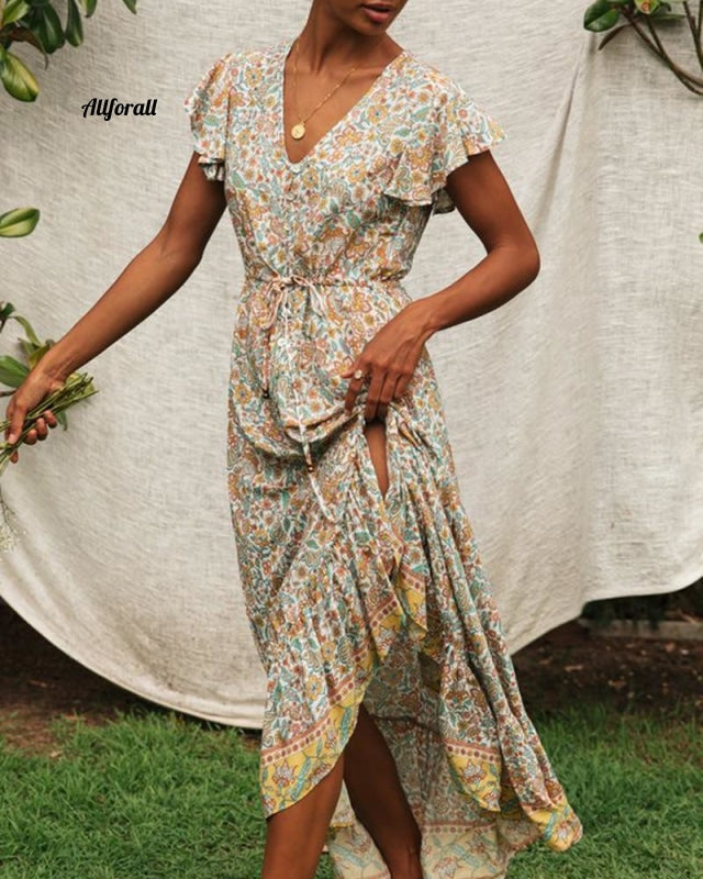 Floral Print Long Dress, Boho Summer Vestidos Buttons Sashes Ladies Gypsy Maxi Dress