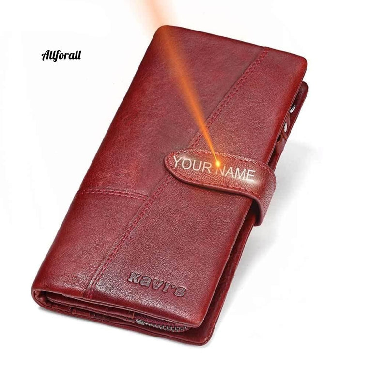 Free Engraving Genuine Leather Women Wallet Coin Purse