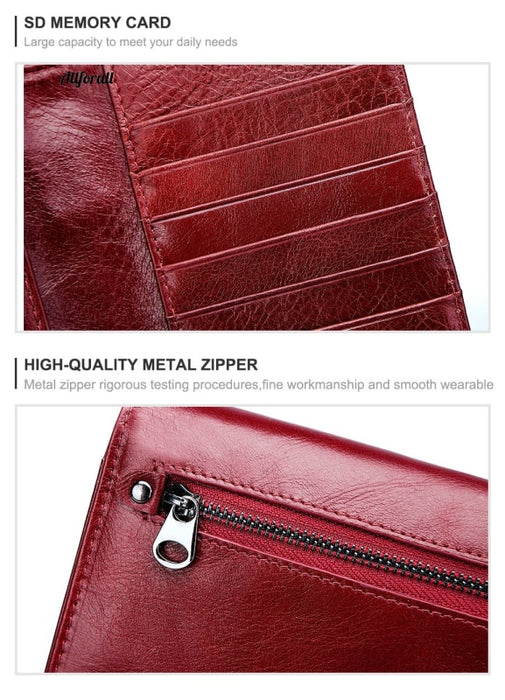 Free Engraving Genuine Leather Women Wallet Purse