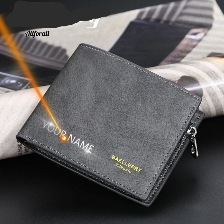 Free Name Engraving Men Wallet, Customized Zipper Card Slot, High Quality PU Leather Coin Holder Wallet