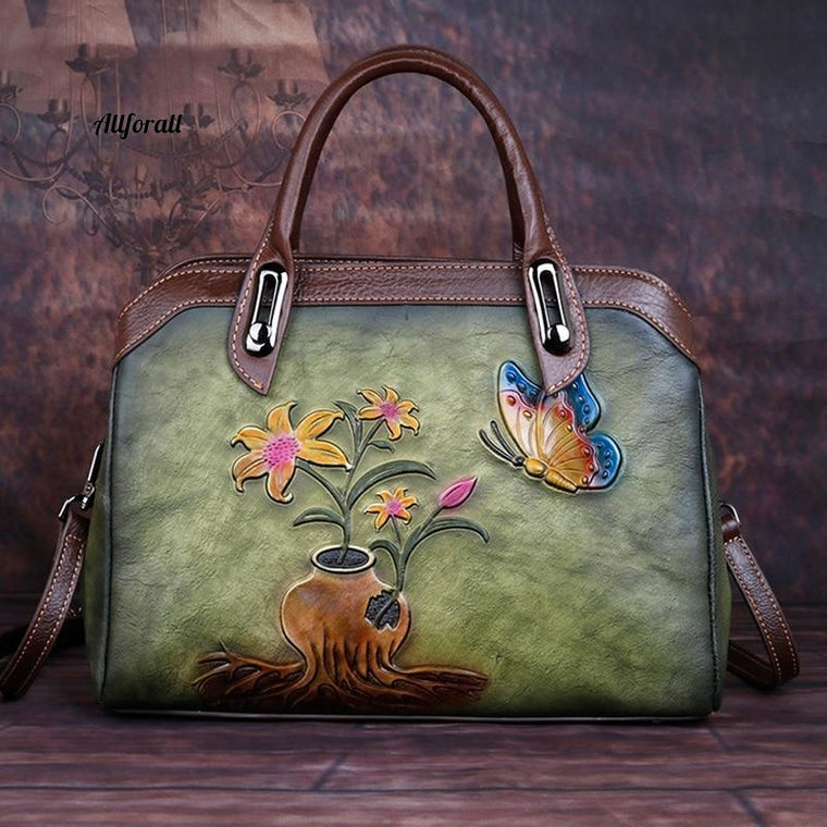 Genuine Embossed Leather Handbag, High Quality Messenger Shoulder Cross Body Bag, Luxury Floral Vintage Tote Bag