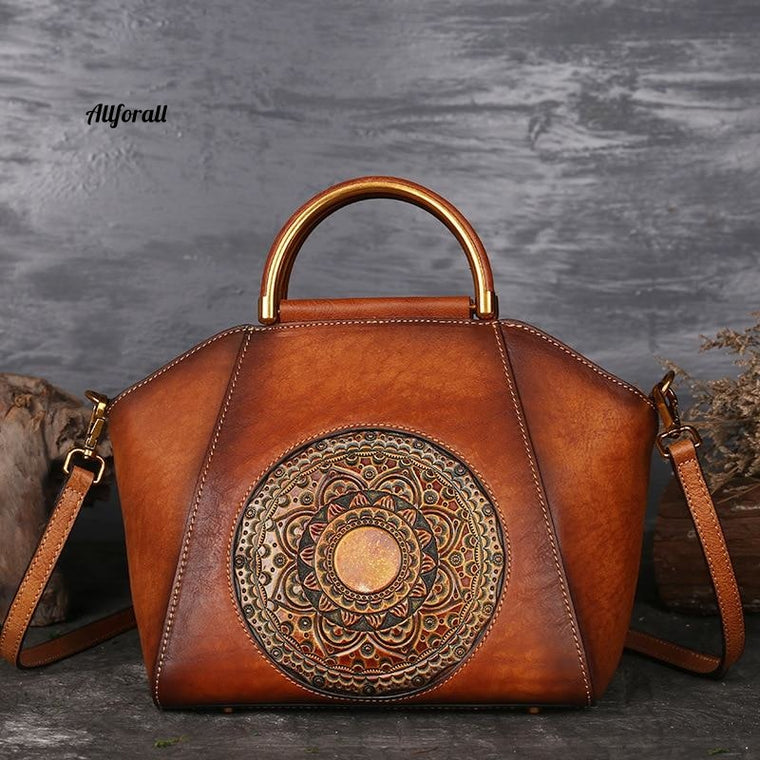 Genuine Embossed Leather Messenger Top Handle Bag, Retro Totem Pattern High Quality Natural Skin Shoulder Bag