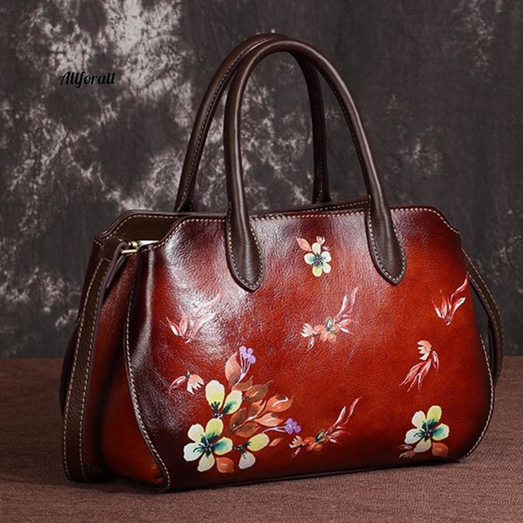 Genuine Leather Cross Body Women Tote Handbag, High Quality Embossed Floral Leisure Hobo Shoulder Messenger Bag