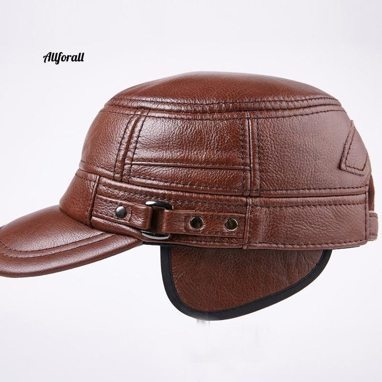 Genuine Leather Flat Baseball Cap, Men Hip Hop Elderly Hat