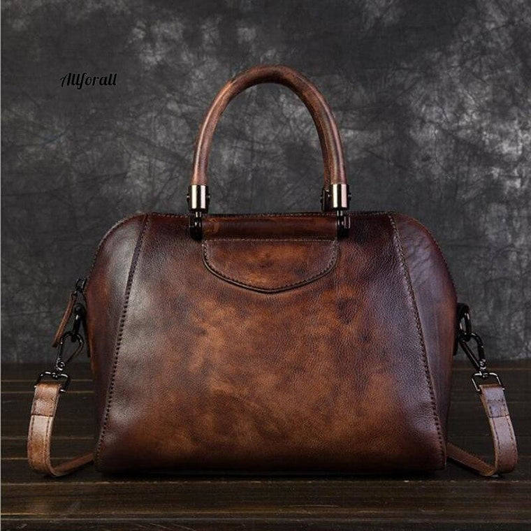 Genuine Leather Ladies Fashion Handbag, Retro Large Capacity Shoulder High Quality 100% Cow Leather Tote Bag