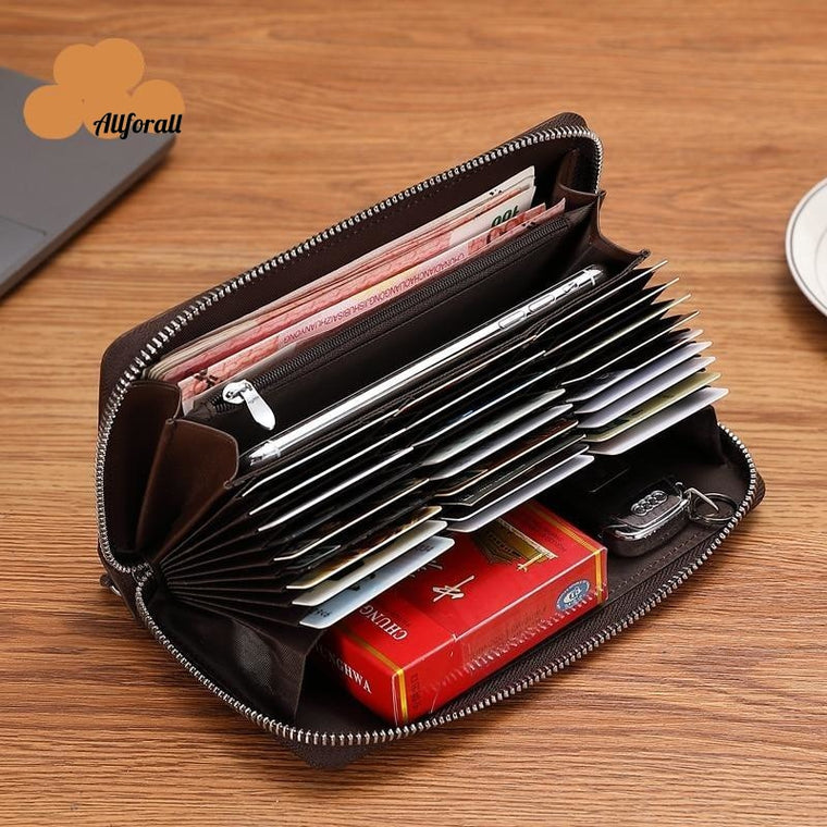 Genuine Leather Men Wallet, Zipper Coin Pocket Long Purse Passport Cover RFID Blocking Card Holder