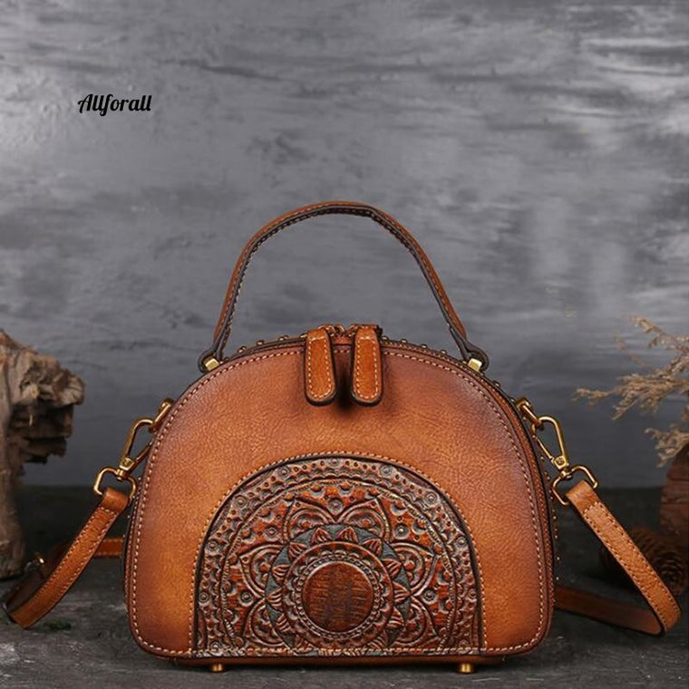 Genuine Leather Messenger Bag, Handle Embossed Luxury Real Cowhide Ladies Tote Vintage Bag