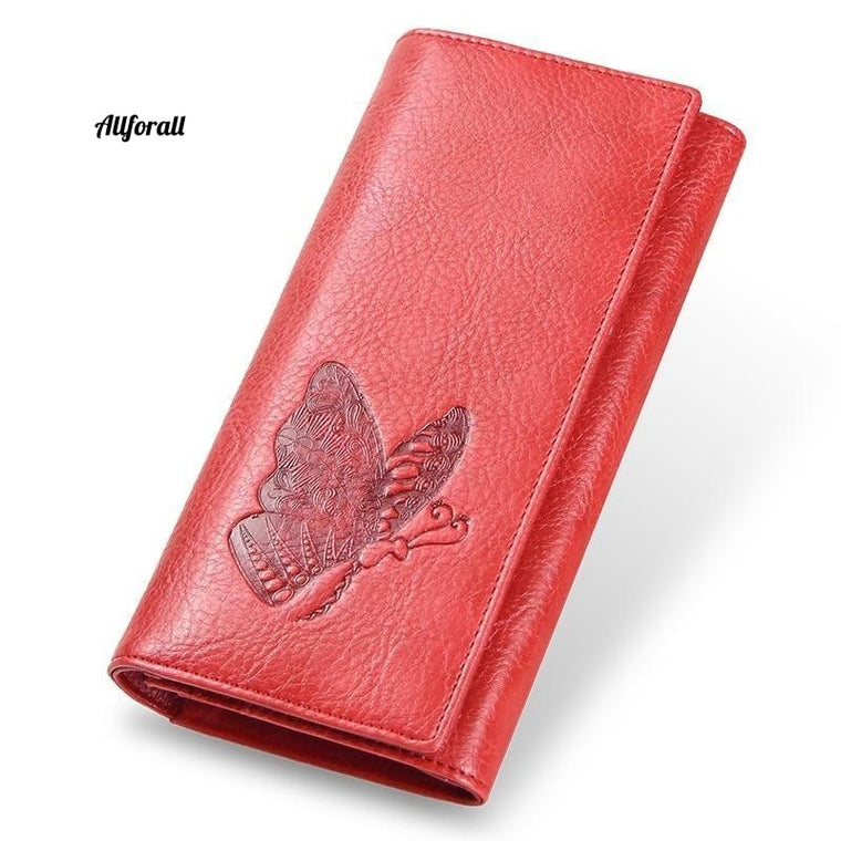 Genuine Leather Women Long Purse, Butterfly Embossing Wallet