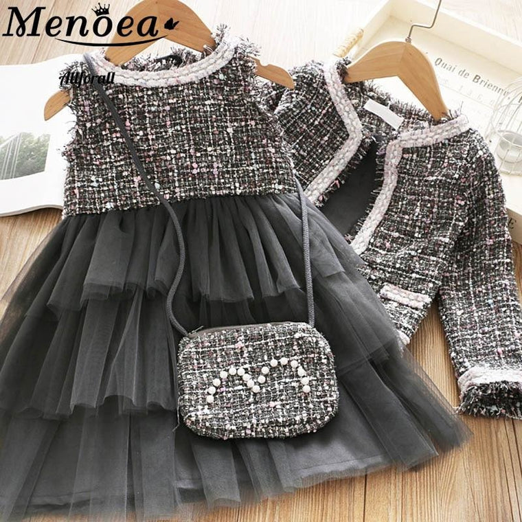 Girls Princess Clothe Suit, Winter Style Girls Party Elegant Cute Outfit