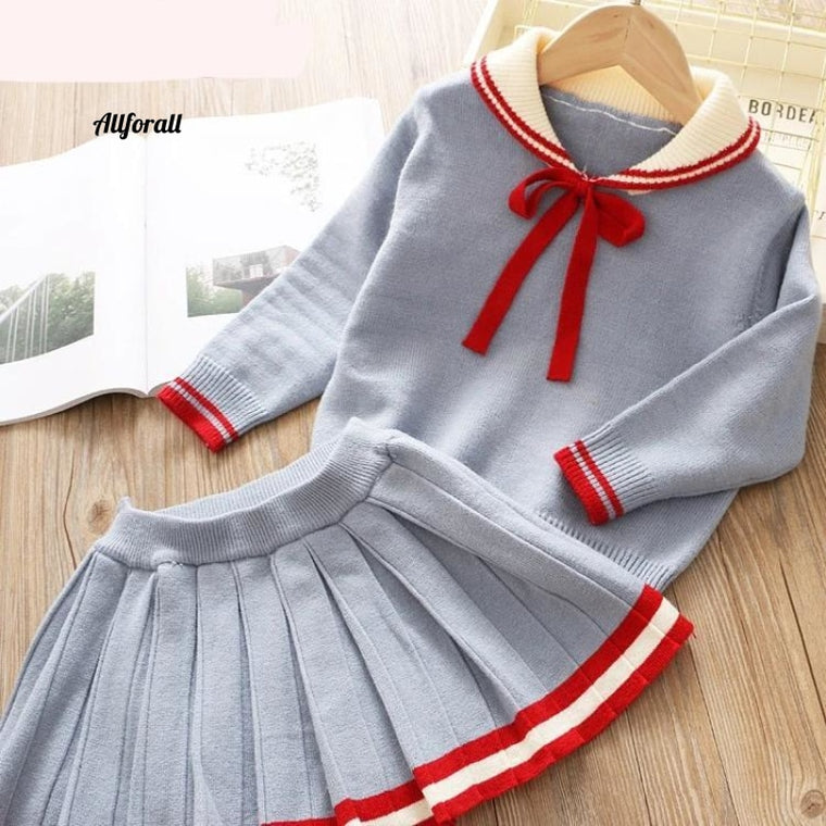 Girls Winter Clothes, Baby Girl Cute Long-Sleeve Knitted Pullover + Dress, Bow Tie 2pcs Children Knitwear Suit