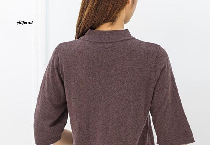 Good Quality 85% Silk 15% Wool High Neck Half Sleeve Pullover Top Sweater, M-2XL