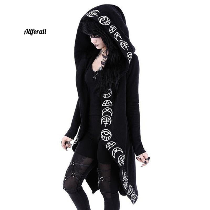 Gothic Casual Cool Chic Black Plus Size Women Sweatshirt, Loose Cotton Hooded Plain Print Female Punk Hoodie