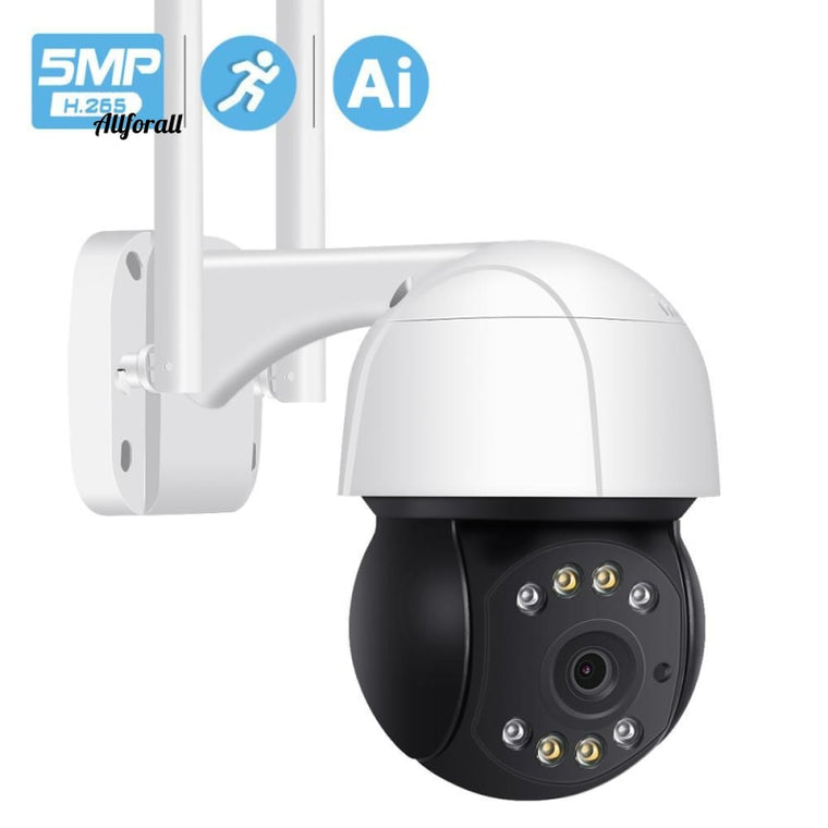 H.265 5MP PTZ Wifi IP-kamera, Utomhus AI Human Auto Tracking Wireless Camera, ONVIF Audio 2MP 3MP Smart Light Security CCTV Camera