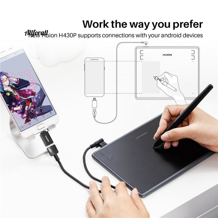 H430P Digital Tablet, Micro USB Signature Graphics Drawing Pen Tablet, OSU Game Battery-Free Tablet