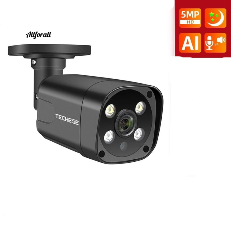 HD 5MP POE AI IP Camera, Face Detection Two-way Audio Outdoor Waterproof CCTV Security Camera
