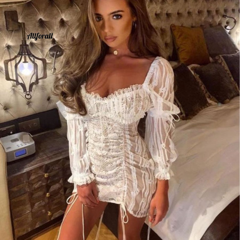 High Quality Summer Women Fashion Sexy Dress, Embroidery Lace Up Backless Party Dress