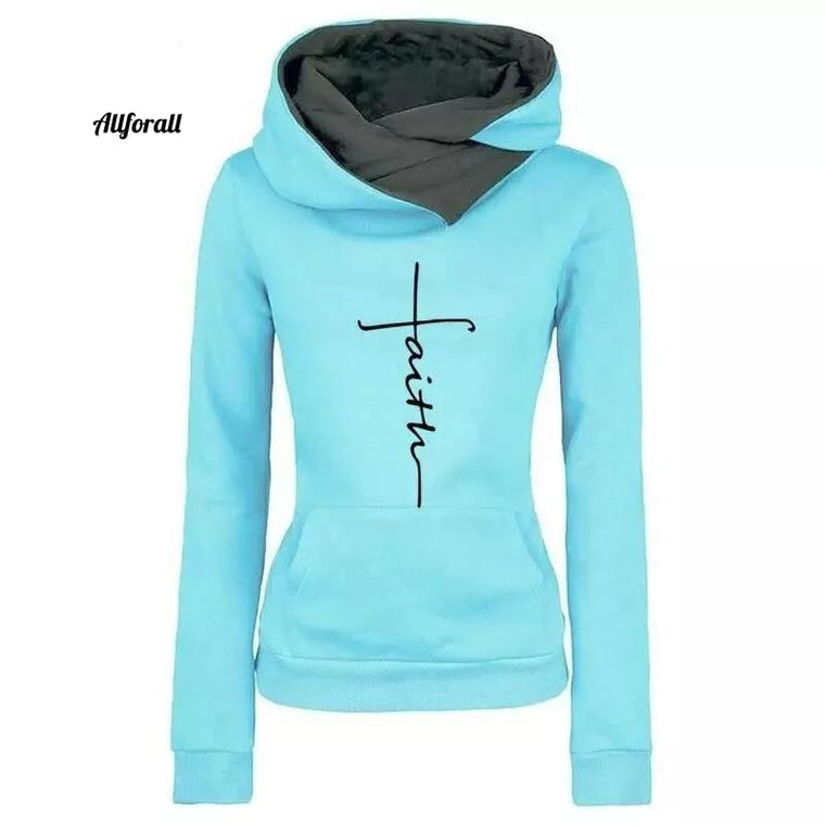 Hoodies Sweatshirt, Women Faith Embroidered Sweatshirt, Long Sleeve Pullovers Christmas Casual Warm Sweatshirt