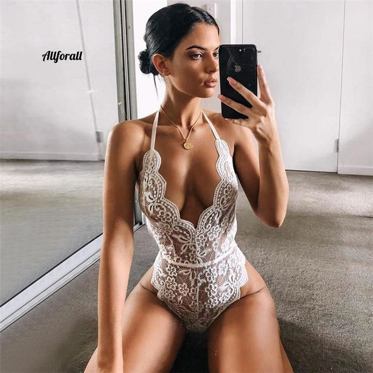 Hot Erotic Dress For Sex Lady, Underwear Halter Plus Size Perspective Lace Lingerie Baby-doll Costumes