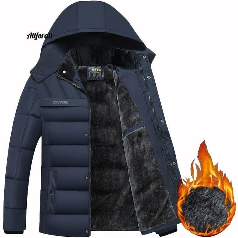 Hot Fashion Hooded Winter Coat, Men tjock varm vinterjacka, Father's Gift Parka