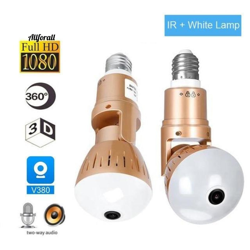 Ip Camera Bulb Lamp Light Wireless 2Mp Hd 360 Degrees Panoramic Home Cctv Security Video
