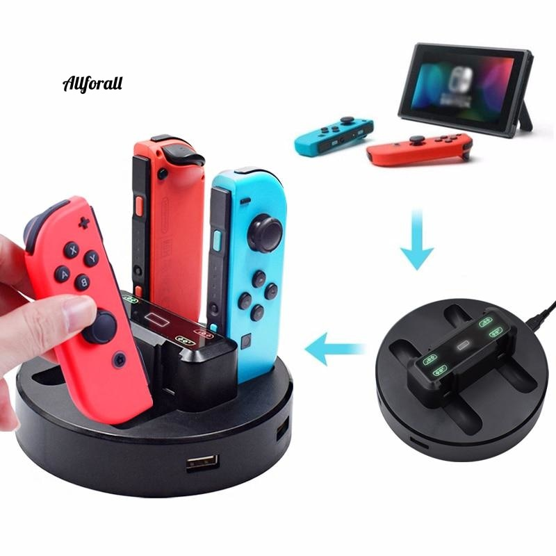 Joy-Con Charger Dock Station, LED Charging Dock Charge Stand Holder with Micro USB Cable for Nintendo Switch Console