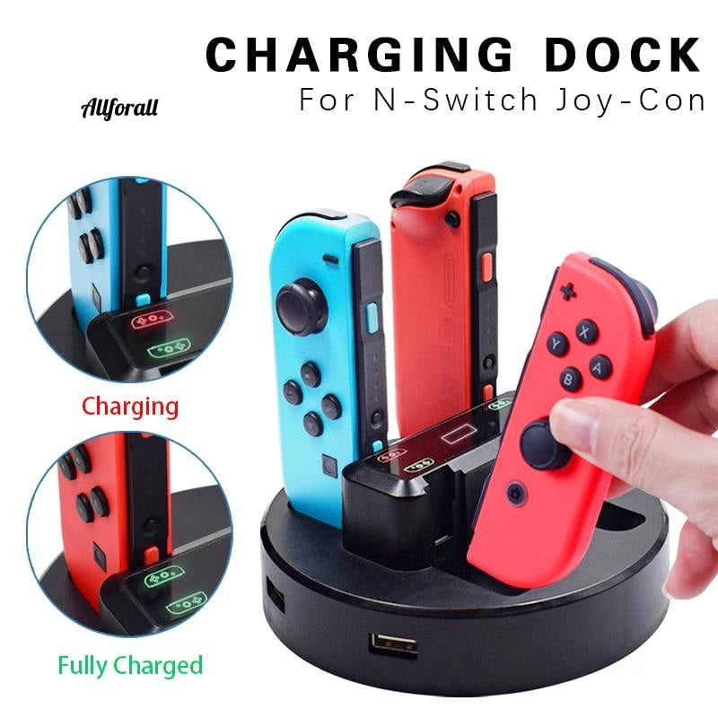 Joy-Con Charger Dock Station, LED Charging Dock Charge Stand Holder met Micro USB-kabel voor Nintendo Switch Console