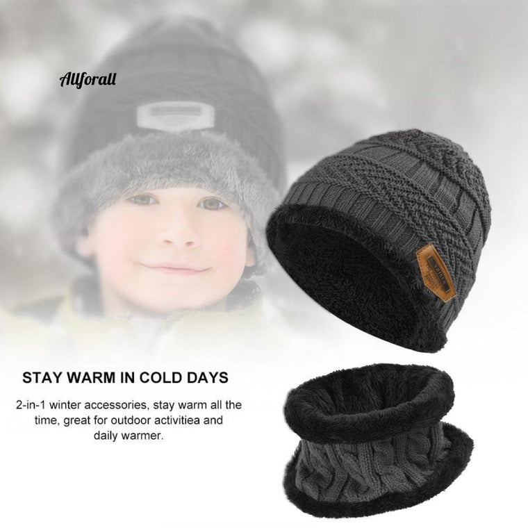 Kids Winter Knitted Beanie Hat, Thick Hat and Neck Warmer Scarf Set, 2 Pcs for 5-14 Year Old Kids