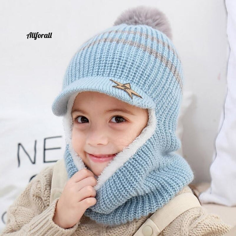 Knit Short Plush Hooded Scarf Kid Hat And Scarf, Child Winter Warm Protection Ear Pom Pom Cap Scarves