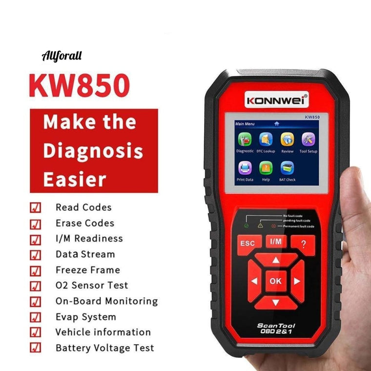 KW850 Professional OBD2 Scanner, Auto Code Reader για OBD II Cars, Diagnostic Check Engine Light Car Scan Tool