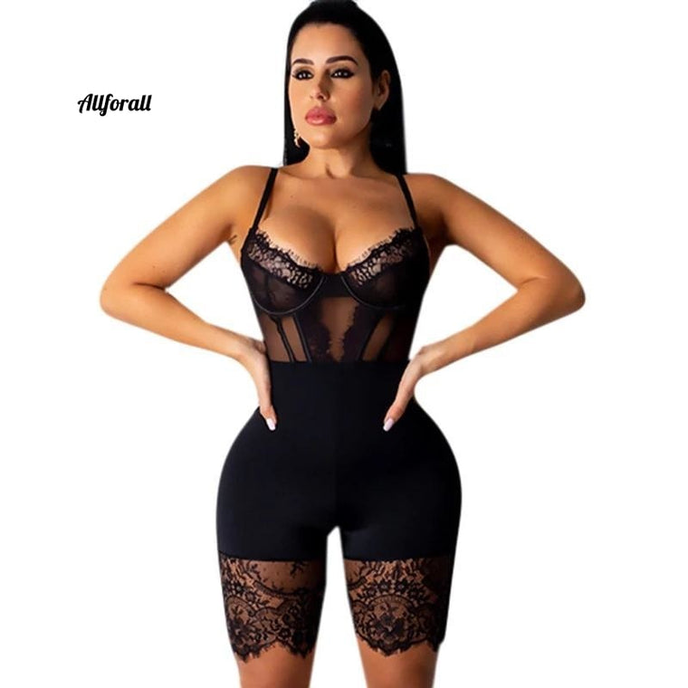 Lace patchwork sexy spaghetti-band jumpsuit, dames off shoulder mouwloze elegante body-con bandage party speelpak