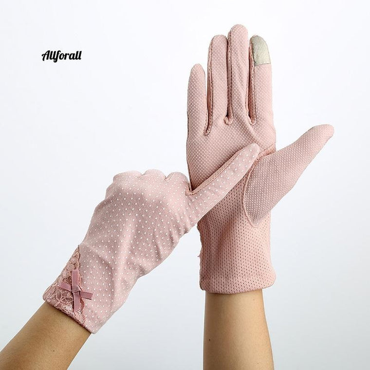 Spets solskyddshandske, Lady Stretch Touch Screen Anti Uv Slip Resistent Driving Glove Andas Guantes 23cm