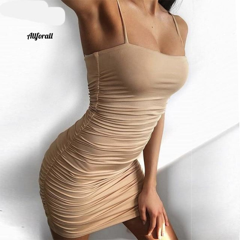 Lace Up V-hals Ruched Bodycon Mini-jurk Dames Holle ruches Beachwear 05 Khaki / Xl Party