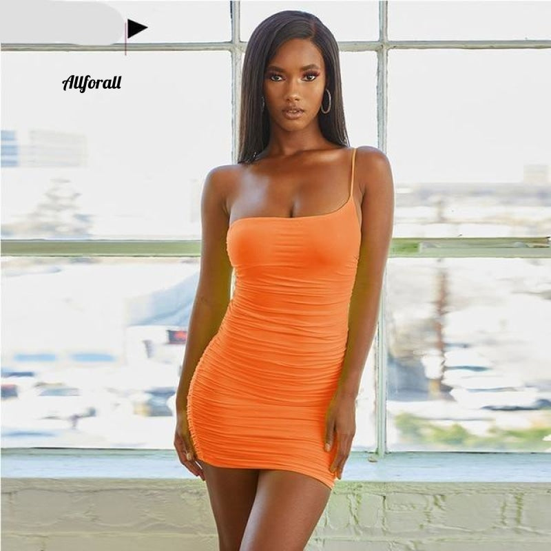Lace Up V-hals Ruched Bodycon Mini-jurk Dames Holle ruches Beachwear 12 Orange / S Party
