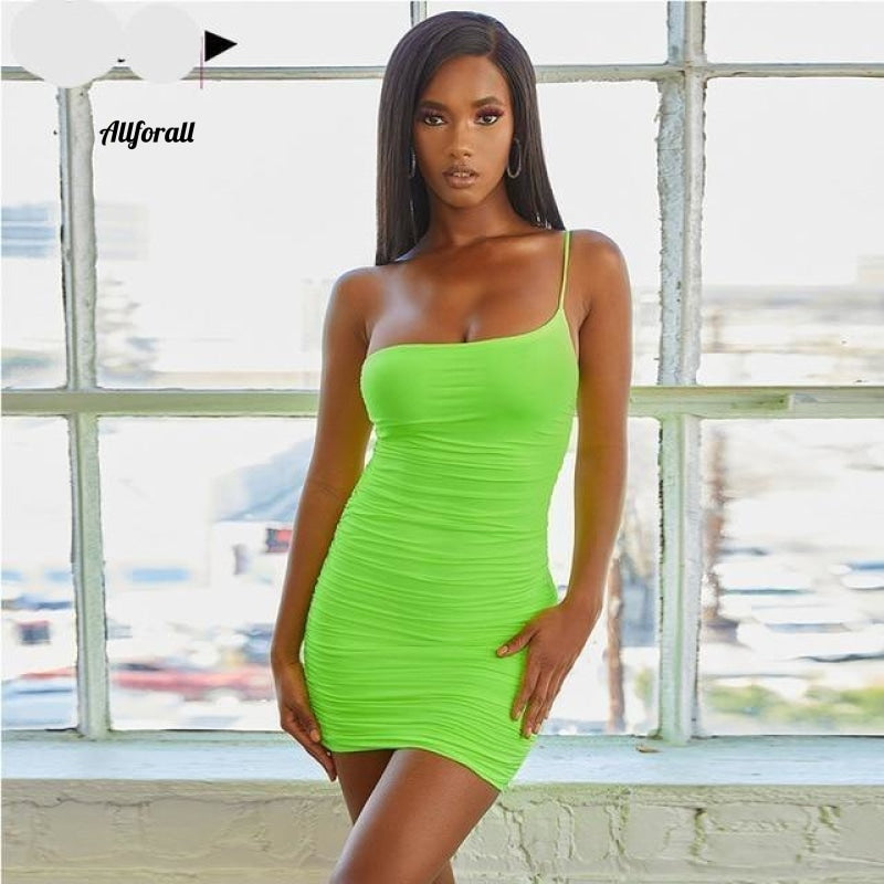 Lace Up V-hals Ruched Bodycon Mini-jurk Dames Holle ruches Beachwear 14 Neon Green / XL Party