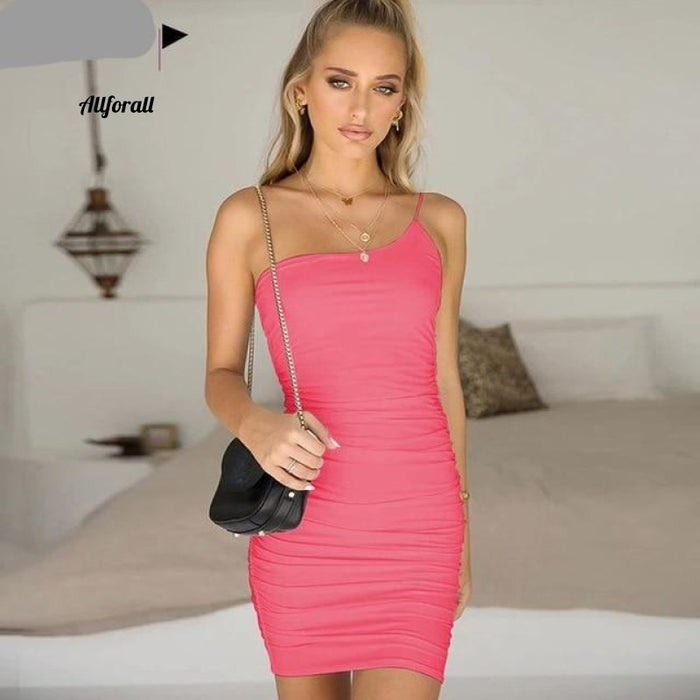 Lace Up V-hals Ruched Bodycon Mini-jurk Dames Holle ruches Beachwear 15 Neon Pink / Xl Party