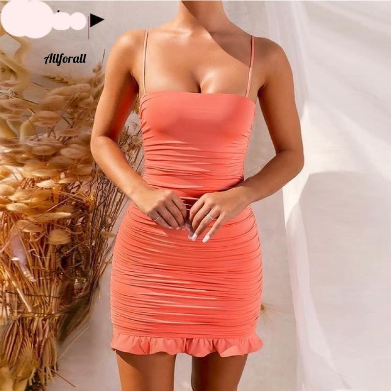 Lace Up V-hals Ruched Bodycon Mini-jurk Dames Holle ruches Beachwear 25 Orange / S Party