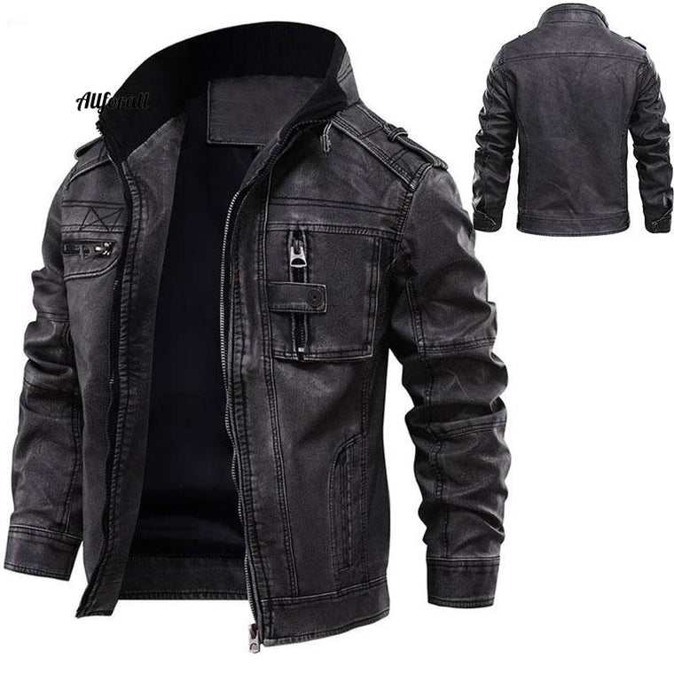 Leren herenjas, Winter Warm Cool Moto Motorcycle Outerwear, Europese maat