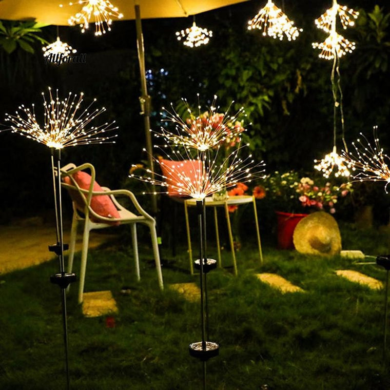 LED Solar Light, String Outdoor Waterproof Garden Lawn Solar Dandelion Lights, Christmas Wedding Fairy Garland Decoration
