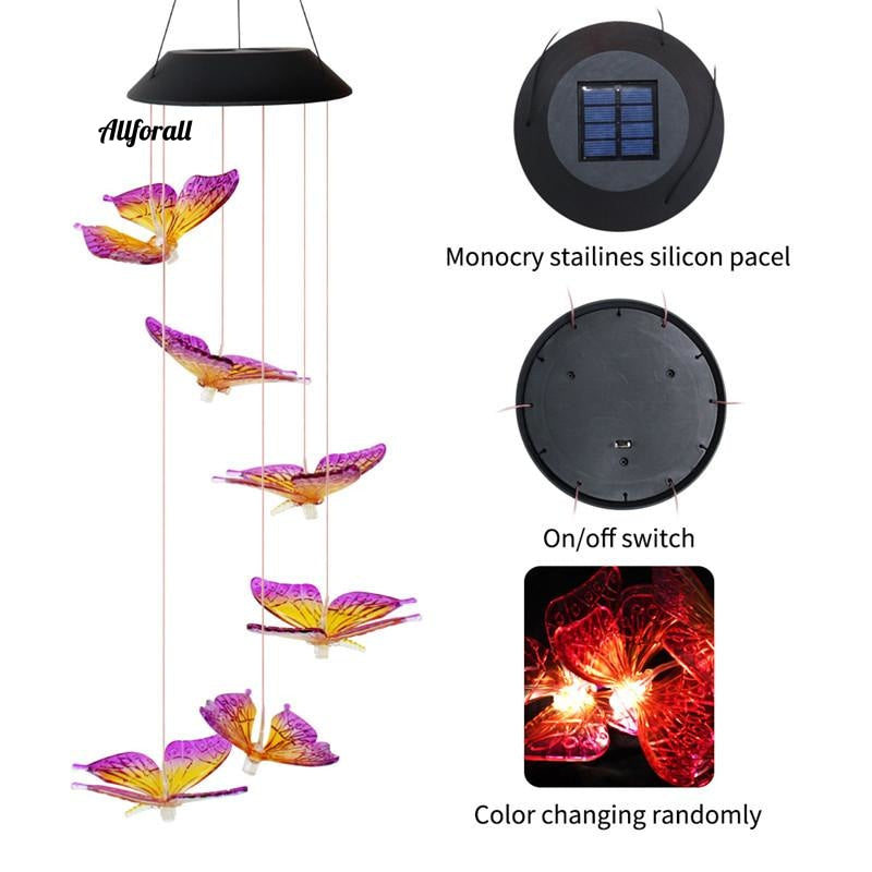 LED Solar Wind Chime Light, Butterfly Style Outdoor Waterproof Garden Garland Hanging Lights, Christmas Holiday Solar Lamp Decor