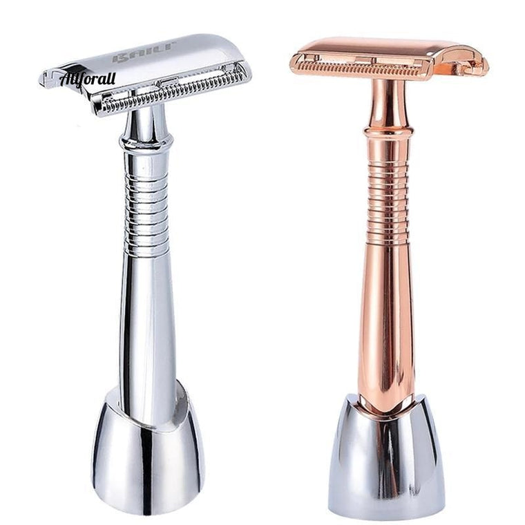 Long Handle Double Edge Safety Blade Razor for Barber, Men Hair Shaving Unisex +5 Blade +Supporter/Stand/Base