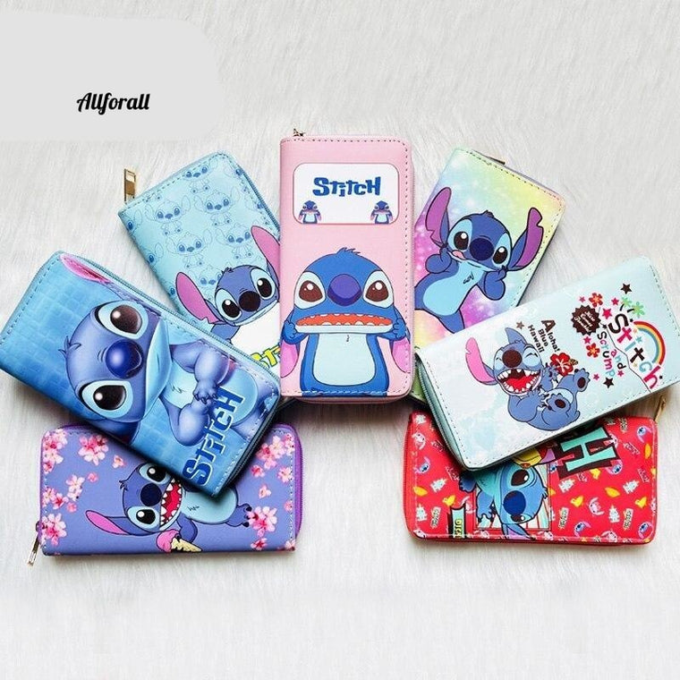 Long Wallet For Women, Anime Stitch PU Leather Purse, Female Pouch Handbag Coin Purse, Card Holders Clutch