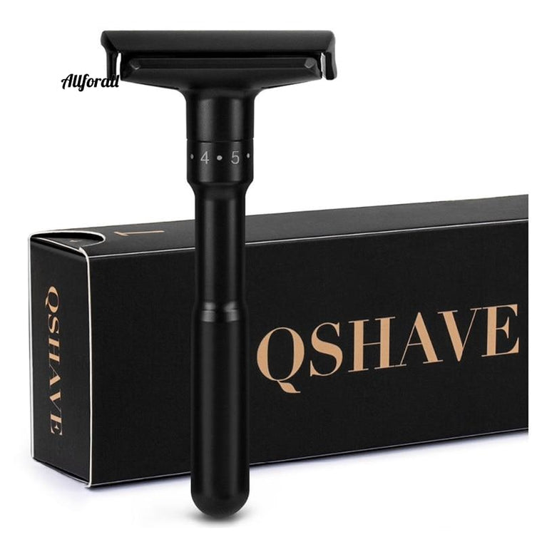 Luxurious Black Adjustable Safety Razor Can Design, Name on It Classic Stand Safety Razor Men Shaving 5 Gift Blades